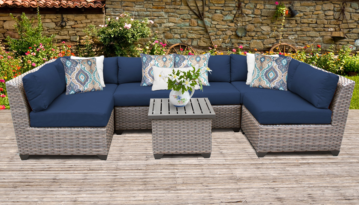 Catalina 7 Piece Outdoor Wicker Patio Furniture Set 07c - Design Furnishings