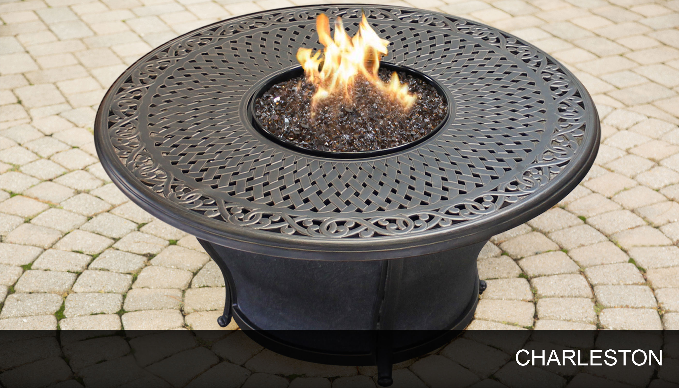 agio charleston fire pit round gas fire pit table