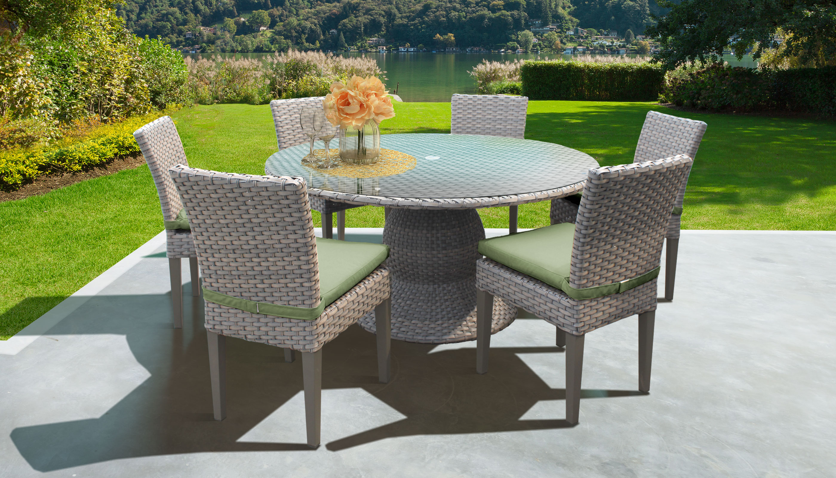 Harmony 60 Inch Outdoor Patio Dining Table With 6 Chairs - Design Furnishings