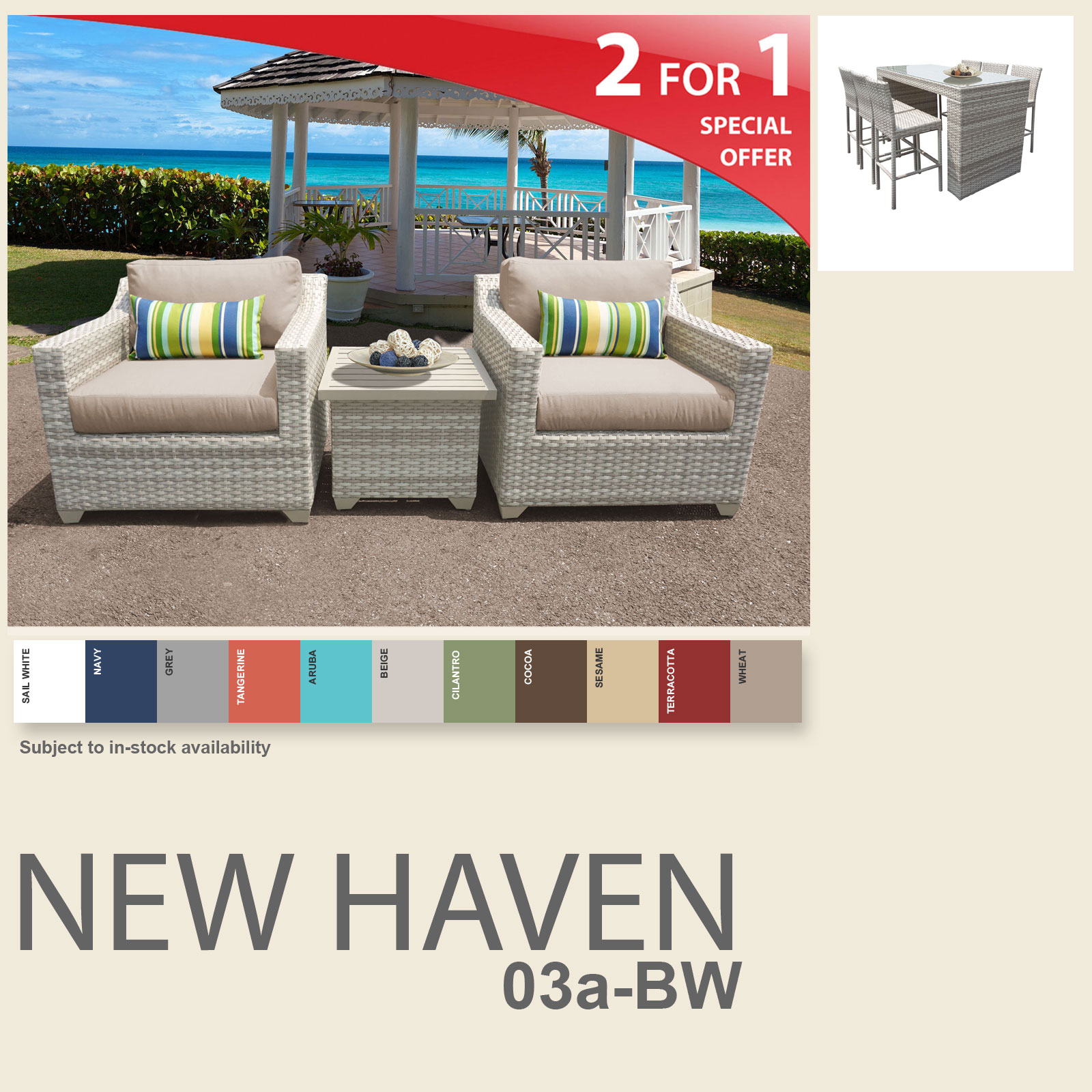 New Haven 10 Piece Outdoor Wicker Patio Furniture Package NEWHAVEN-03a-BW - Design Furnishings