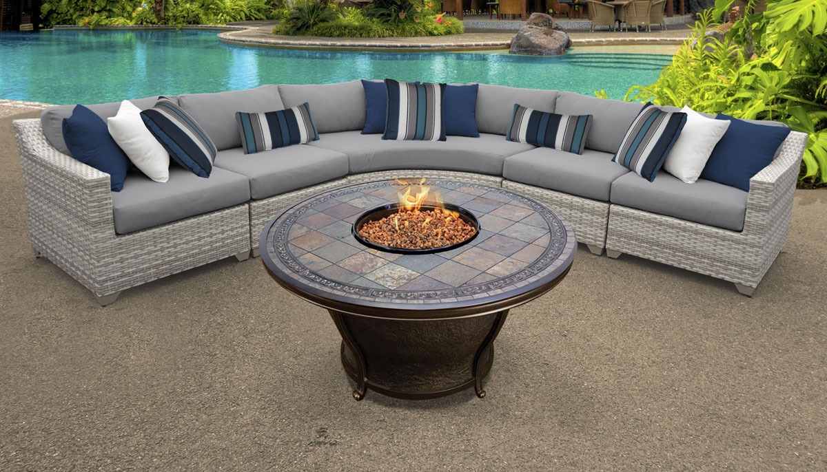 New Haven 6 Piece Outdoor Wicker Patio Furniture Set 06e - Design Furnishings