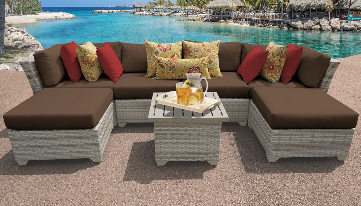 New Haven 7 Piece Outdoor Wicker Patio Furniture Set 07a - Design Furnishings