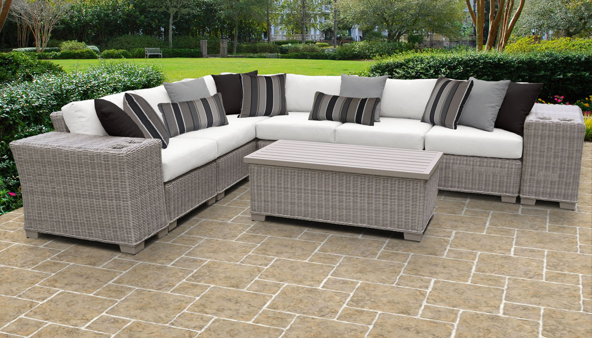 Pacific 9 Piece Outdoor Wicker Patio Furniture Set 09b - Design Furnishings