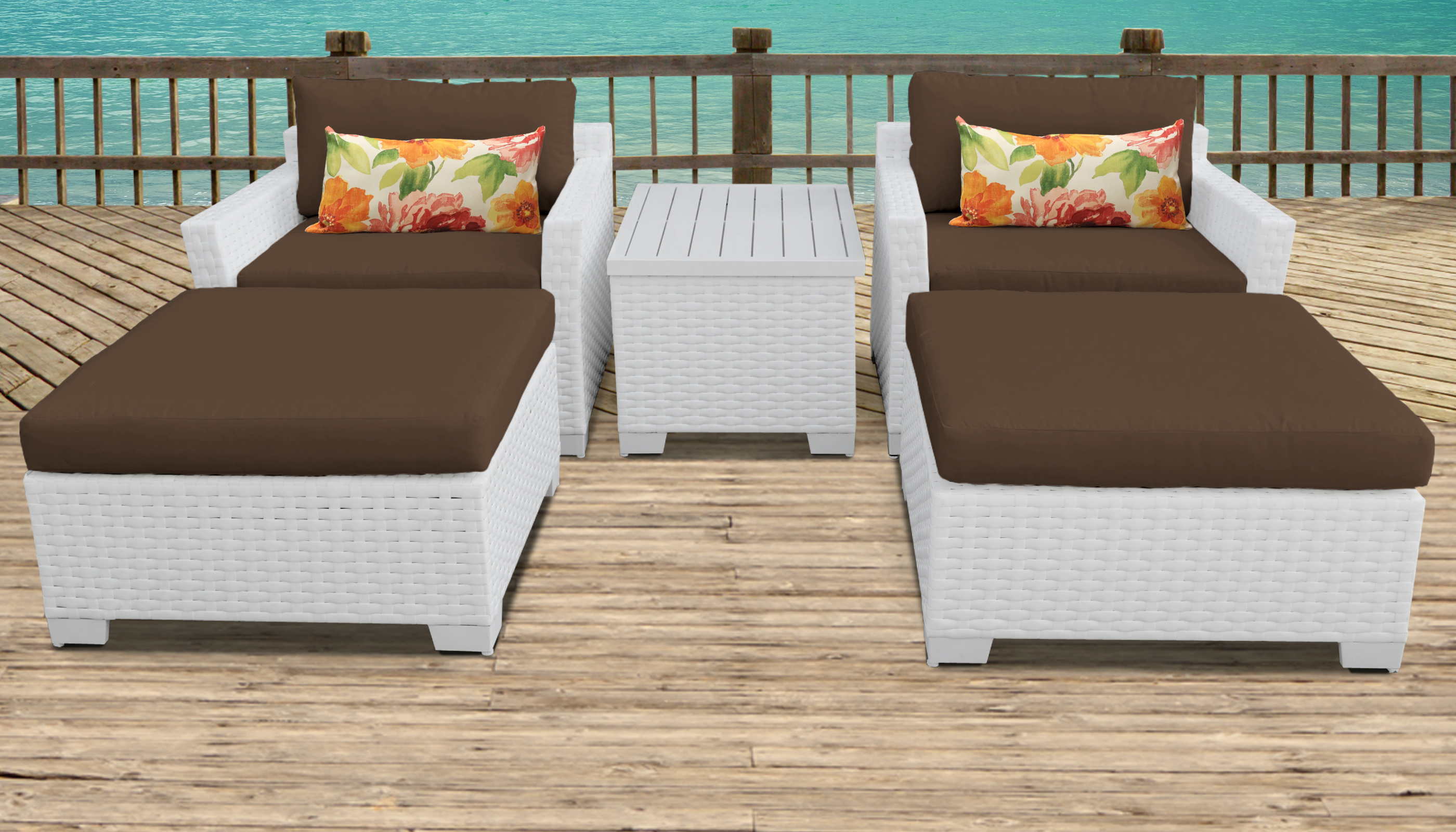 Pearl Bay 5 Piece Outdoor Wicker Patio Furniture Set 05a - Design Furnishings