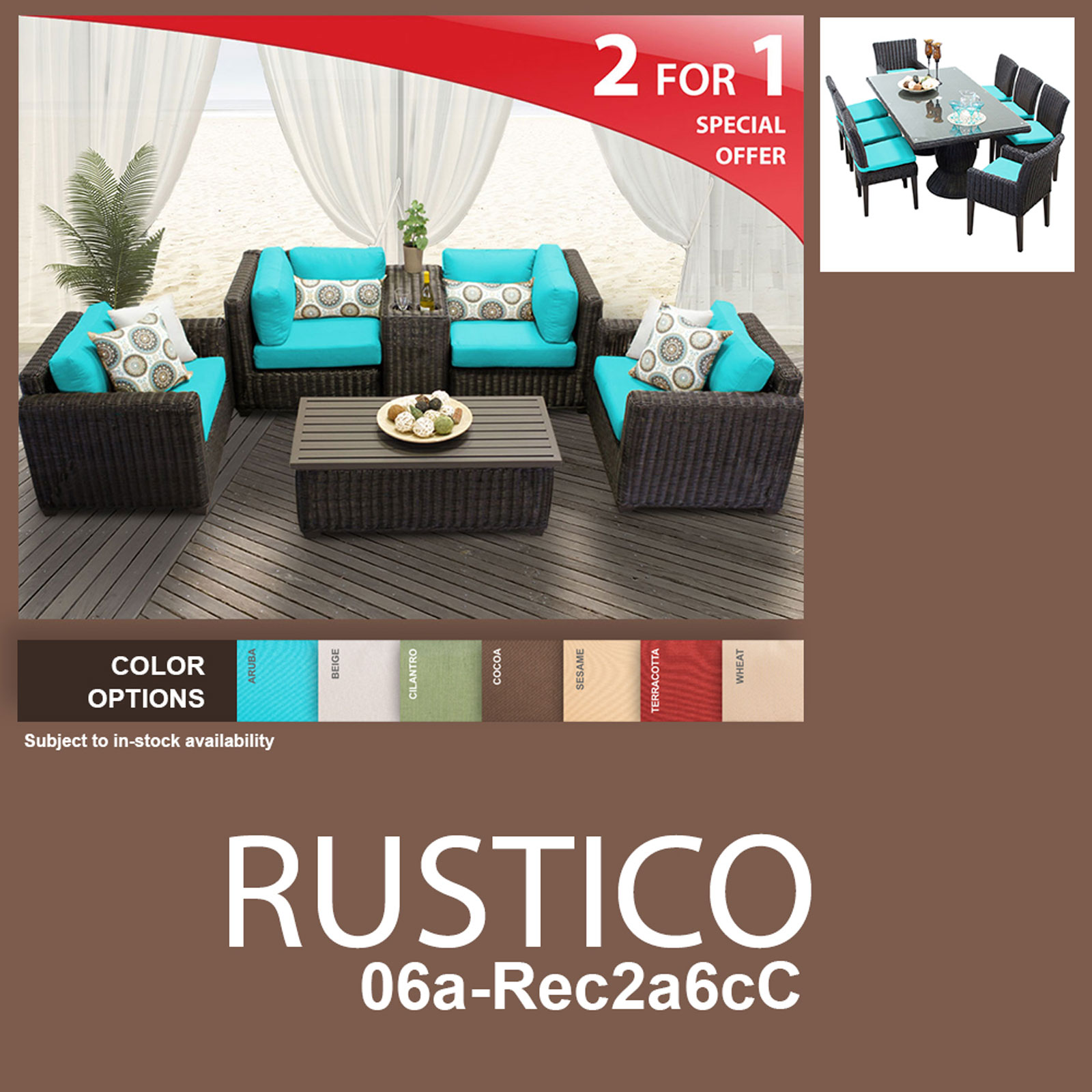 Rustico 15 Piece Outdoor Wicker Patio Furniture Package RUSTICO-06a-Rec2a6cC - Design Furnishings