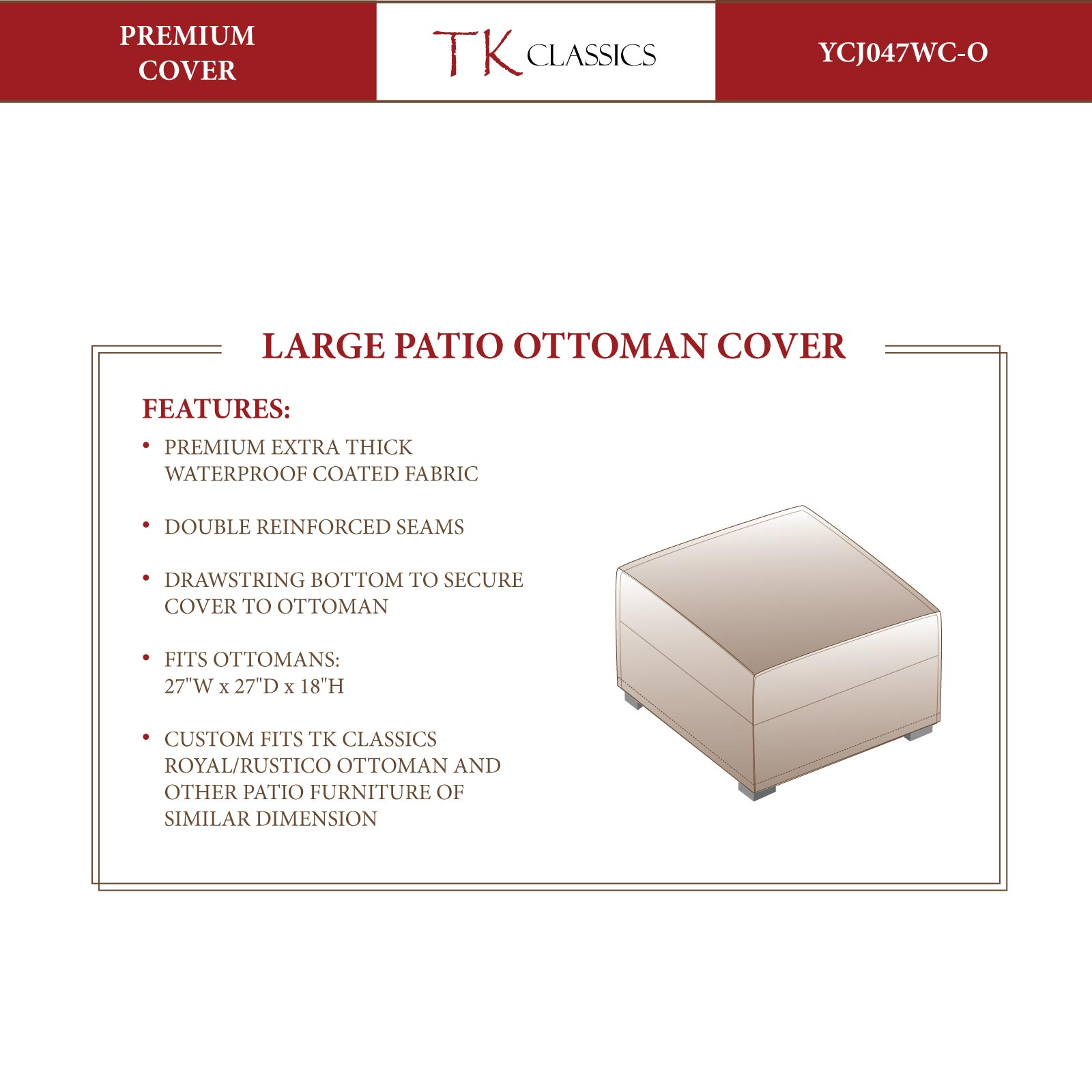 Rustico/Royal Ottoman Protective Cover - Design Furnishings