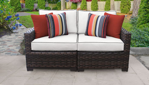 kathy ireland River Brook 2 Piece Outdoor Wicker Patio Furniture Set 02a - Design Furnishings