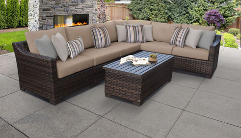 kathy ireland River Brook 7 Piece Outdoor Wicker Patio Furniture Set 07b - Design Furnishings