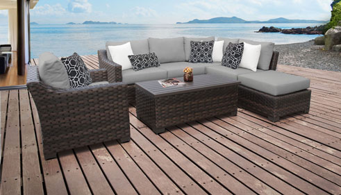 kathy ireland River Brook 7 Piece Outdoor Wicker Patio Furniture Set 07f - Design Furnishings