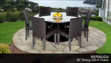 Bermuda 60 Inch Outdoor Patio Dining Table with 6 Armless Chairs - Design Furnishings