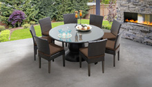 Bermuda 60 Inch Outdoor Patio Dining Table with 8 Armless Chairs - Design Furnishings