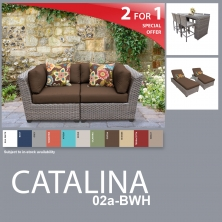 Catalina 12 Piece Outdoor Wicker Patio Furniture Package CATALINA-02a-BWH - Design Furnishings