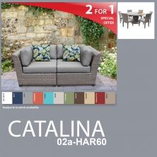 Catalina 9 Piece Outdoor Wicker Patio Furniture Package CATALINA-02a-HAR60 - Design Furnishings