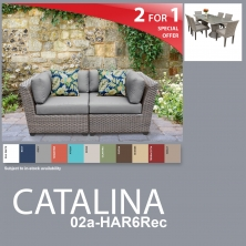 Catalina 9 Piece Outdoor Wicker Patio Furniture Package CATALINA-02a-HAR6Rec - Design Furnishings