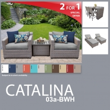 Catalina 13 Piece Outdoor Wicker Patio Furniture Package CATALINA-03a-BWH - Design Furnishings