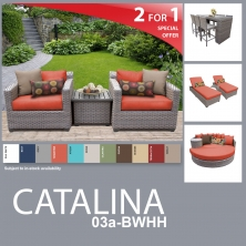 Catalina 14 Piece Outdoor Wicker Patio Furniture Package CATALINA-03a-BWHH - Design Furnishings
