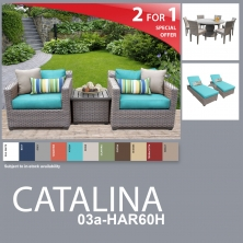 Catalina 13 Piece Outdoor Wicker Patio Furniture Package CATALINA-03a-HAR60H - Design Furnishings