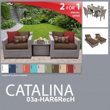 Catalina 13 Piece Outdoor Wicker Patio Furniture Package CATALINA-03a-HAR6RecH - Design Furnishings