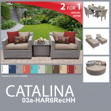 Catalina 14 Piece Outdoor Wicker Patio Furniture Package CATALINA-03a-HAR6RecHH - Design Furnishings