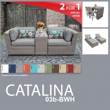 Catalina 13 Piece Outdoor Wicker Patio Furniture Package CATALINA-03b-BWH - Design Furnishings