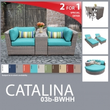 Catalina 14 Piece Outdoor Wicker Patio Furniture Package CATALINA-03b-BWHH - Design Furnishings