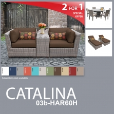 Catalina 13 Piece Outdoor Wicker Patio Furniture Package CATALINA-03b-HAR60H - Design Furnishings