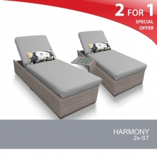 Harmony Chaise Set of 2 Outdoor Wicker Patio Furniture With Side Table - Design Furnishings