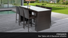 Premier Bar Table Set With Barstools 7 Piece Outdoor Wicker Patio Furniture - Design Furnishings