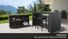 Premier Bar Table Set with Cart, Basket, and 4 Backless Barstools 7 Piece Outdoor Wicker Patio Furniture - Design Furnishings