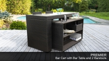 Premier Bar Table Set with Cart, Basket, and 2 Barstools 5 Piece Outdoor Wicker Patio Furniture - Design Furnishings