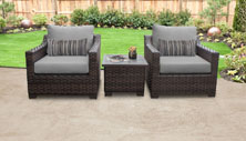 kathy ireland River Brook 3 Piece Outdoor Wicker Patio Furniture Set 03a - Design Furnishings
