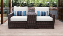 kathy ireland River Brook 3 Piece Outdoor Wicker Patio Furniture Set 03b - Design Furnishings