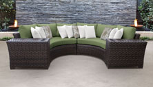 kathy ireland River Brook 4 Piece Outdoor Wicker Patio Furniture Set 04a - Design Furnishings
