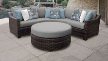 kathy ireland River Brook 4 Piece Outdoor Wicker Patio Furniture Set 04b - Design Furnishings