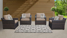 kathy ireland River Brook 4 Piece Outdoor Wicker Patio Furniture Set 04g - Design Furnishings