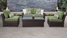 kathy ireland River Brook 5 Piece Outdoor Wicker Patio Furniture Set 05d - Design Furnishings