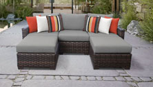 kathy ireland River Brook 5 Piece Outdoor Wicker Patio Furniture Set 05e - Design Furnishings