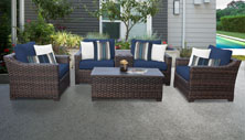 kathy ireland River Brook 6 Piece Outdoor Wicker Patio Furniture Set 06a - Design Furnishings