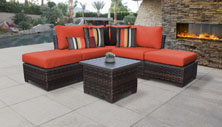 kathy ireland River Brook 6 Piece Outdoor Wicker Patio Furniture Set 06b - Design Furnishings