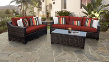 kathy ireland River Brook 6 Piece Outdoor Wicker Patio Furniture Set 06m - Design Furnishings
