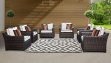 kathy ireland River Brook 6 Piece Outdoor Wicker Patio Furniture Set 06w - Design Furnishings