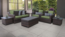 kathy ireland River Brook 7 Piece Outdoor Wicker Patio Furniture Set 07d - Design Furnishings