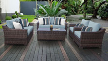 kathy ireland River Brook 7 Piece Outdoor Wicker Patio Furniture Set 07e - Design Furnishings