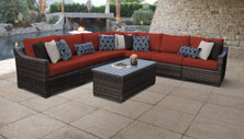 kathy ireland River Brook 8 Piece Outdoor Wicker Patio Furniture Set 08a - Design Furnishings