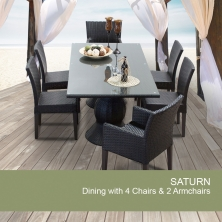 Saturn Rectangular Outdoor Patio Dining Table With 6 Chairs - Design Furnishings