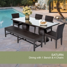 Saturn Rectangular Outdoor Patio Dining Table With 4 Chairs and 1 Bench - Design Furnishings