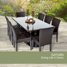 Saturn Rectangular Outdoor Patio Dining Table With 8 Chairs - Design Furnishings